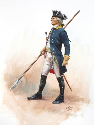 Painting of a Brunswick Prinz Frederich Regiment Officer 1777