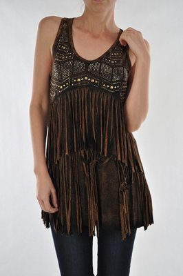 Double Fringe Tunic Brown
