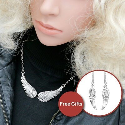 Angel Wing Necklace with Free Earrings
