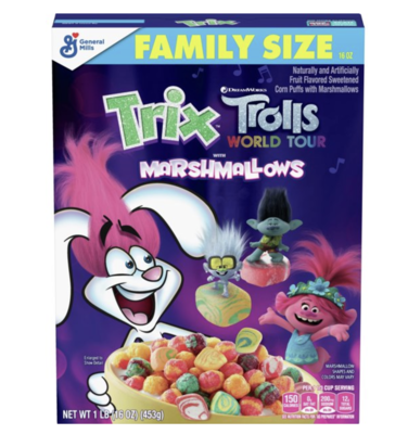 Trix Cereal, Trolls with Marshmallows Cereal, 16 oz.