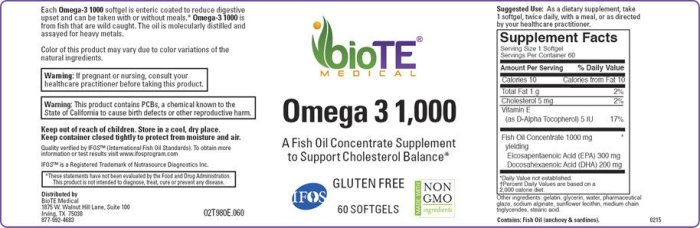 BioTE Omega 3 --60 Softgels