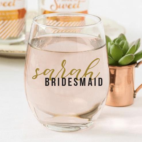 Bridesmaid Custom Wine Glasses
