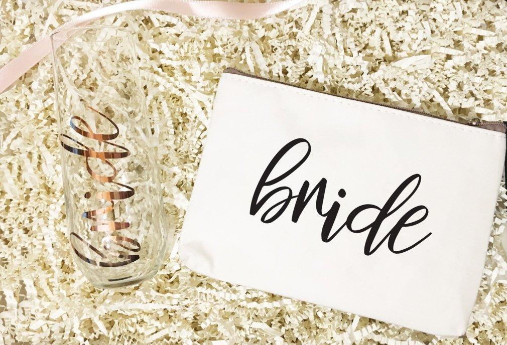 Champange Glass & Make Up Bag | Bridesmaid Gifts