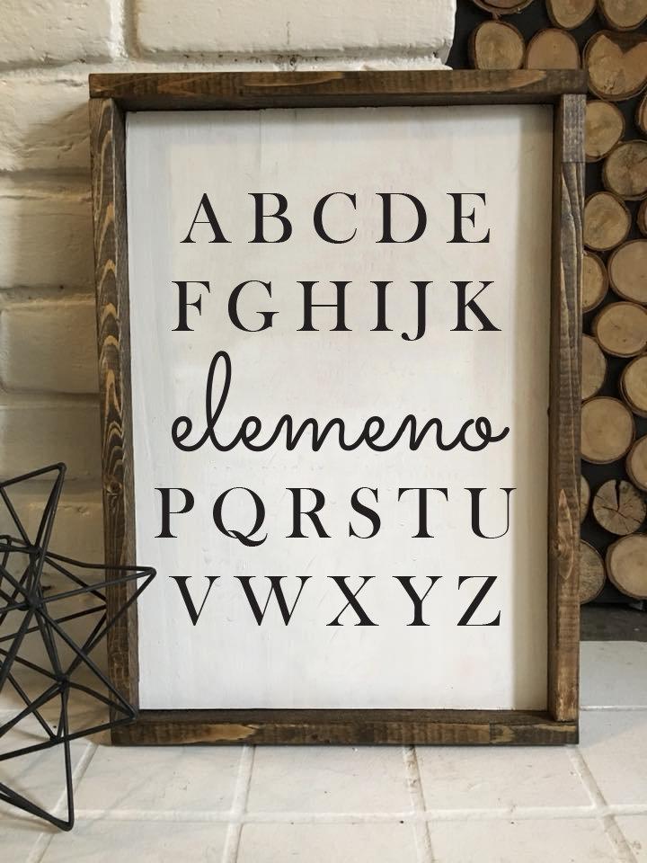 Elemeno   Wood Sign