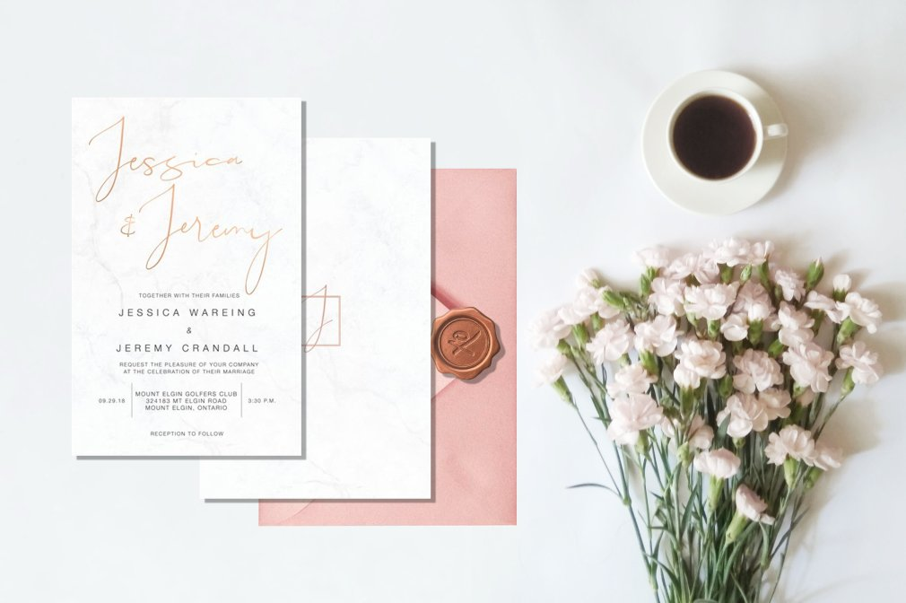 Marble & Rose Gold Invitations 00251