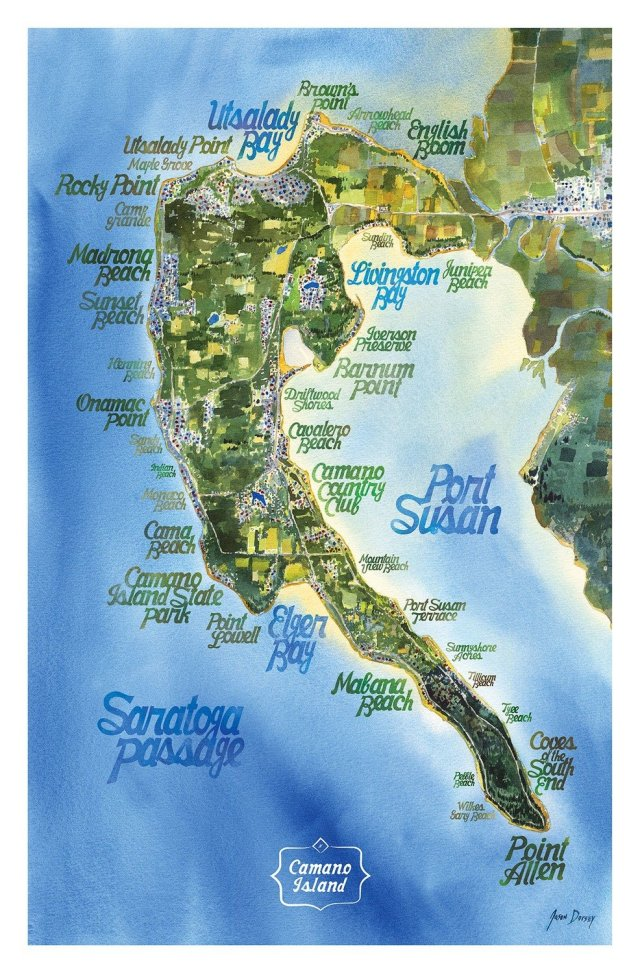 Map - Beaches of Camano - Poster (13x20)