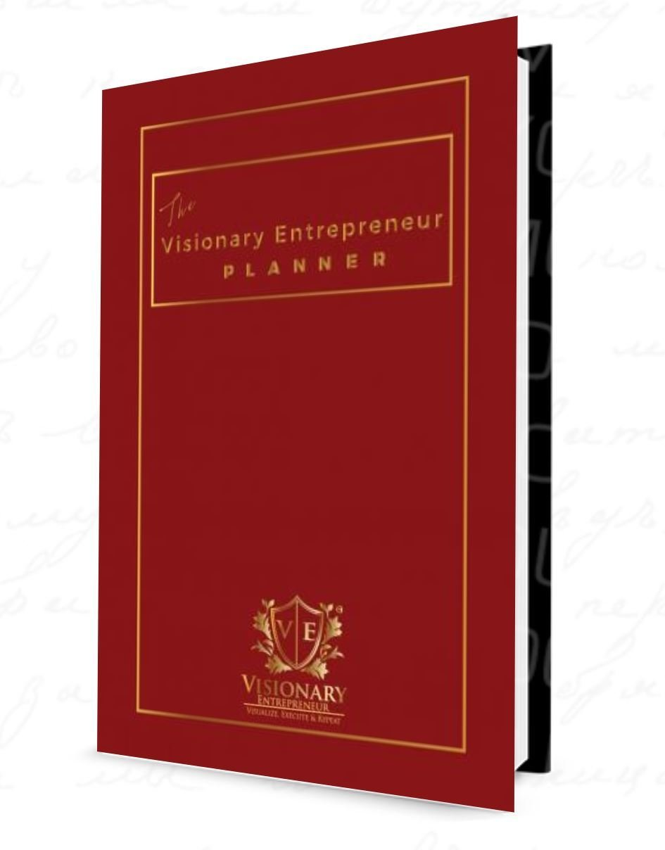 The Visionary Entrepreneur Planner © 2019 - Limited Edition - Red -  Undated Monthly & Weekly Calendars  Goals   Vision   Expenses   Journal   Quotes VEP201902