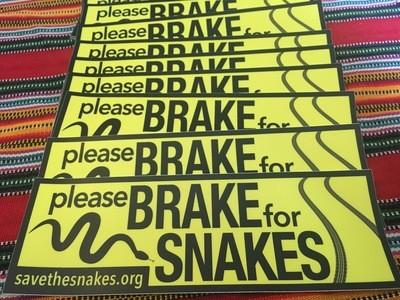 Brake For Snakes Bumper Sticker - HUGE!