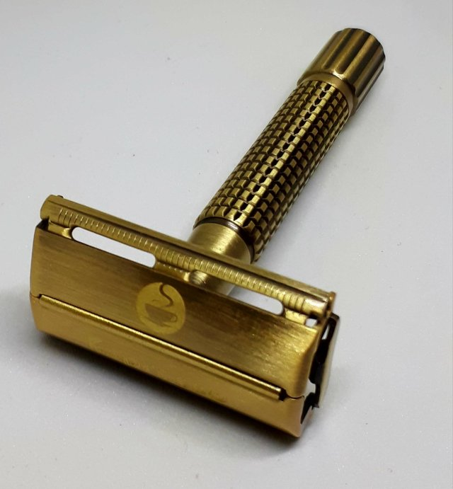 Espresso Safety Razor. 100% Noble Golden Brass. Lifetime Warranty. JAVA102