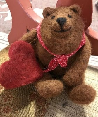 Needle Felted Brown Bear with Heart