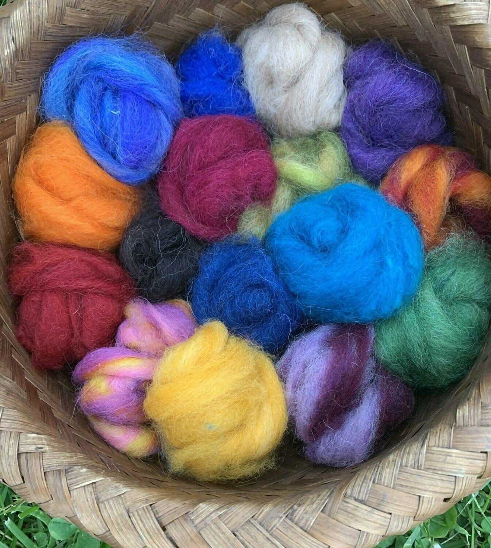 Alpaca Wool Roving Sampler - Summer Colors