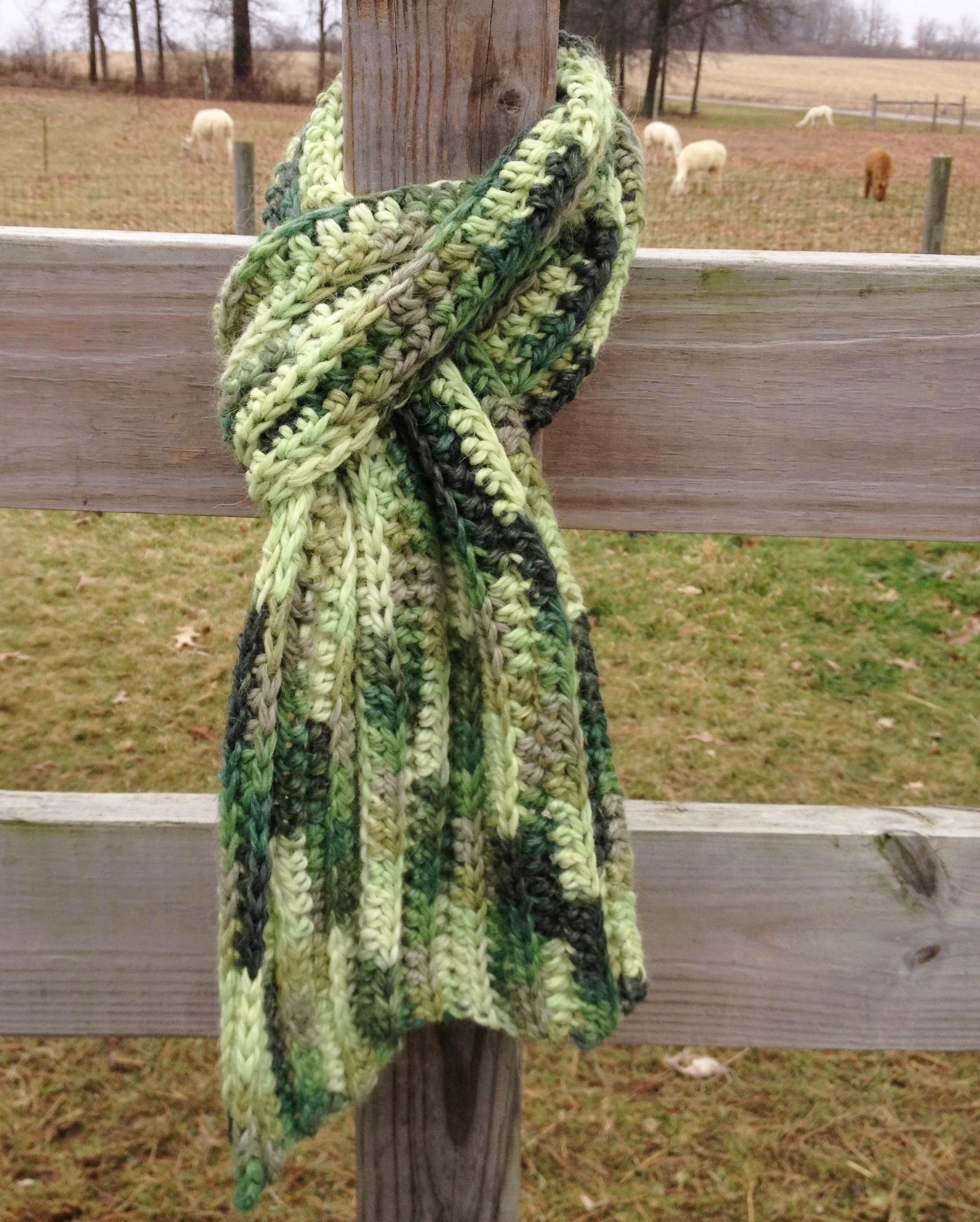 Bulky Ribbed Crochet Scarf BlkyRibCrScrf