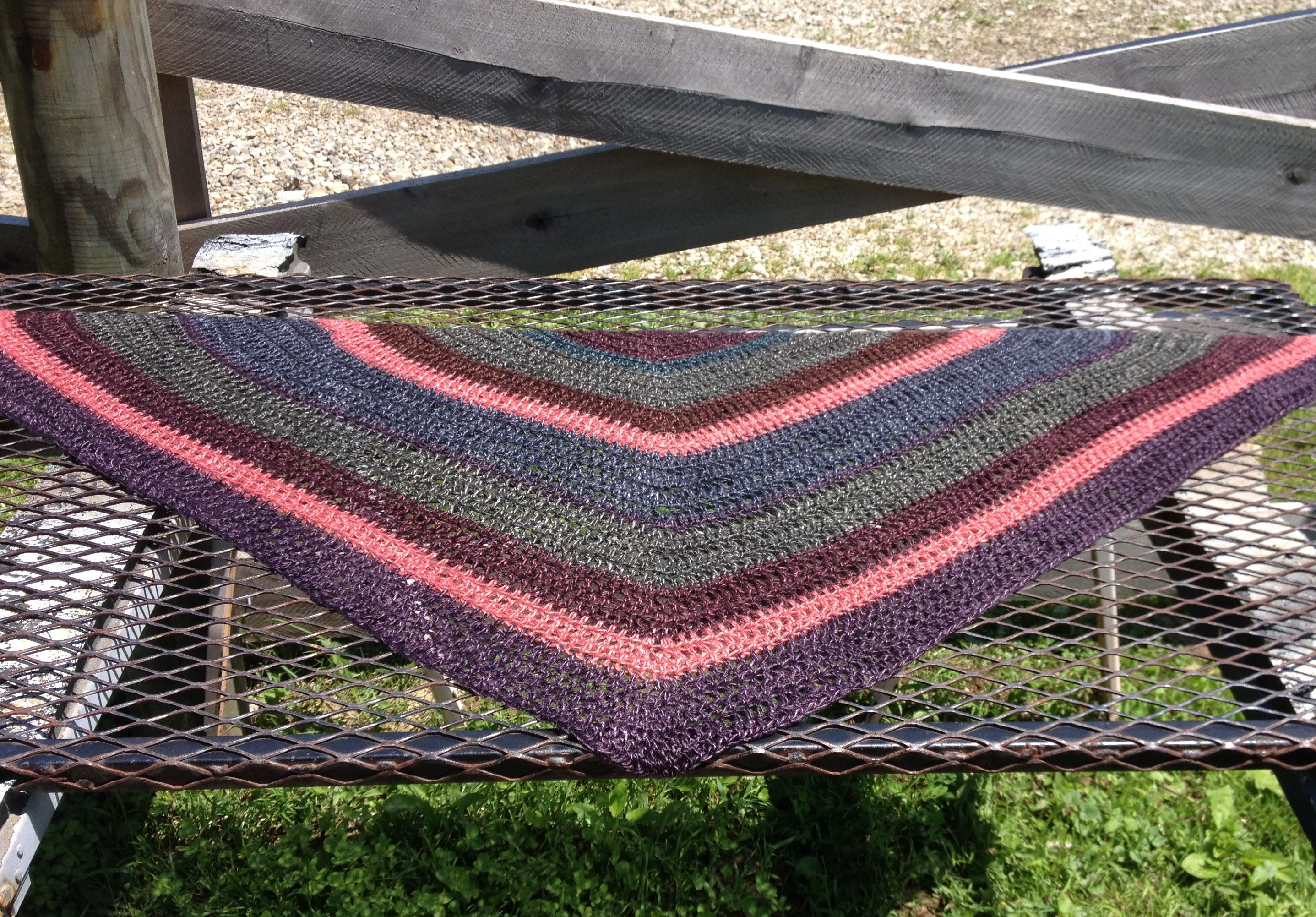Striped Triangular Shawl - Made to Order 17802