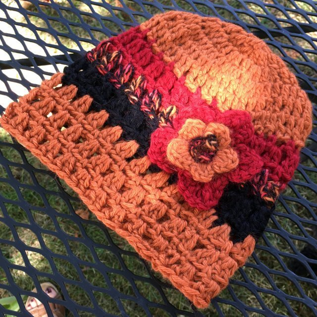 Alpaca Hat with Flower - Tiger Lily
