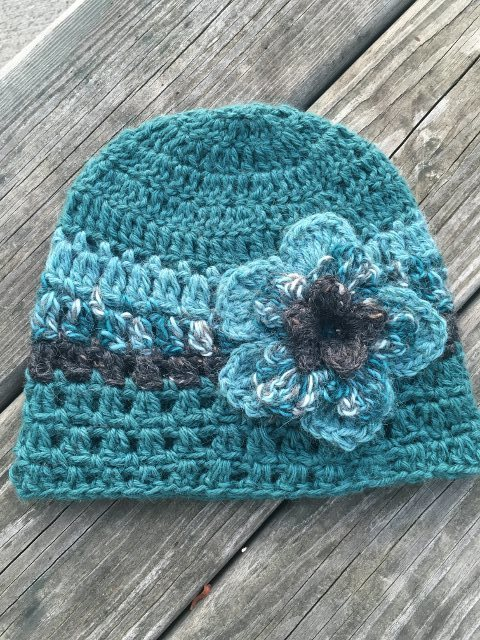Teal and Gray Alpaca Hat with Flower - Made to Order