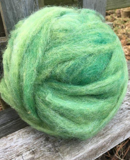 Alpaca Wool Roving - Grass Green