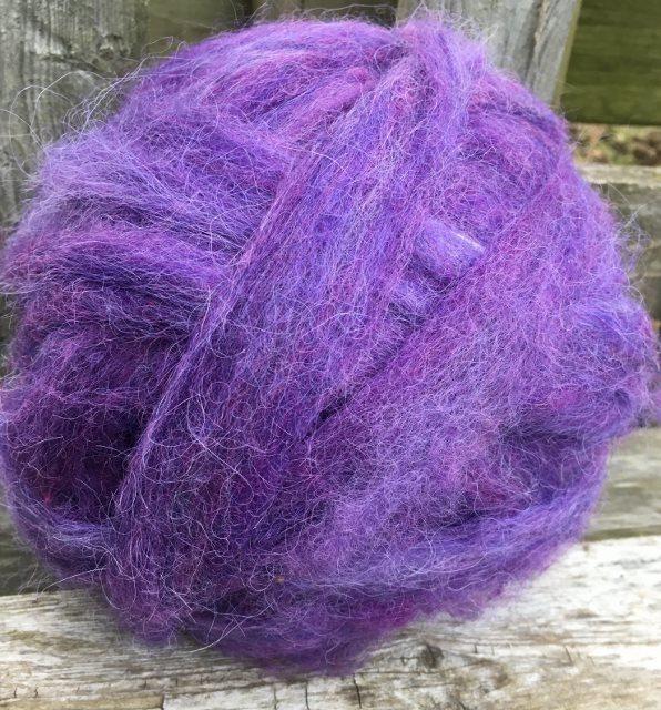 Alpaca Wool Roving - Purple 18058