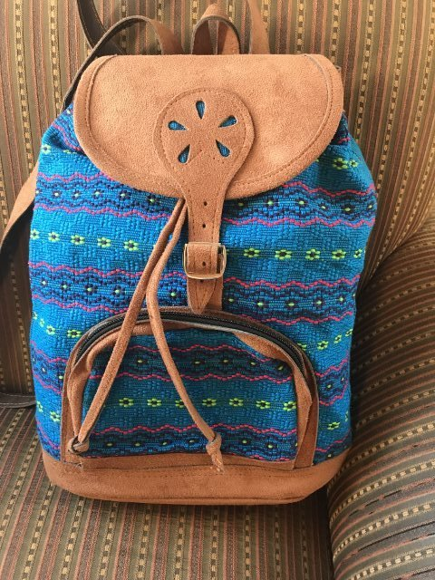 Handwoven and Leather Backpack 18193