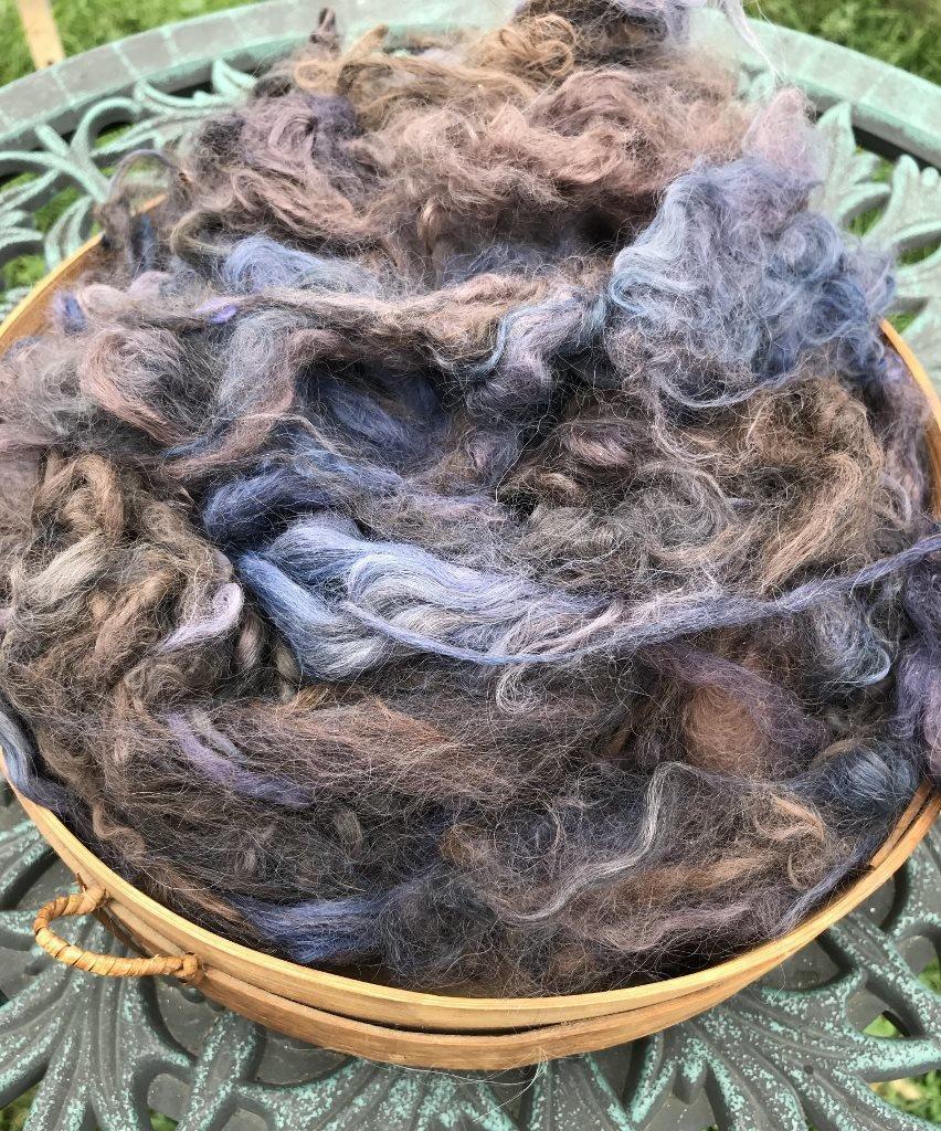 Hand-Dyed Suri Alpaca Fiber, 4 Inches, Indigo