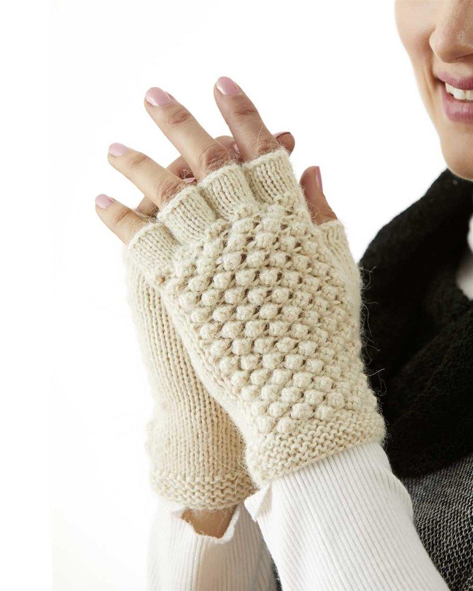 Textured Fingerless Alpaca Gloves