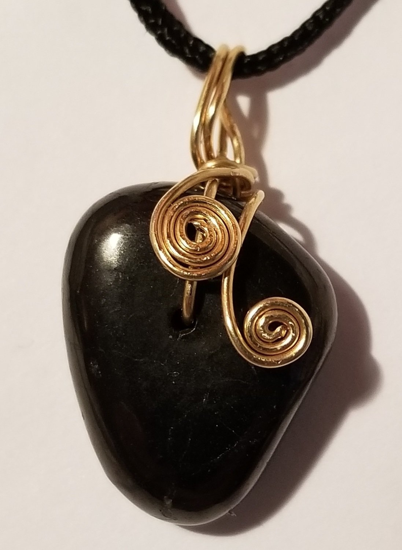 EMF Protection Shungite Pendant – Polished - Bronze wire