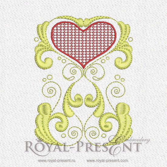 Machine Embroidery Design - Red & Gold Hearts #3 RPE-579-02