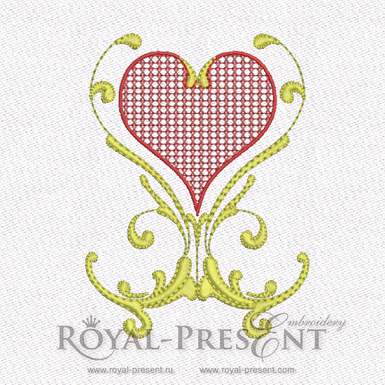 Machine Embroidery Design - Red & Gold Hearts #4 RPE-579-03