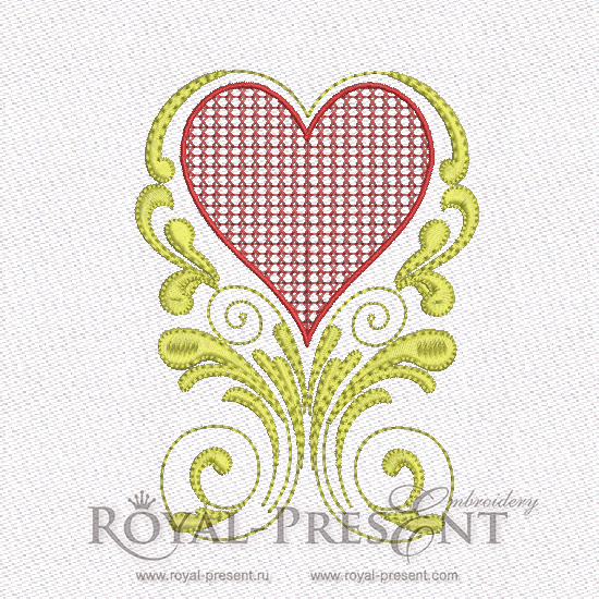 Machine Embroidery Design - Red & Gold Hearts #5 RPE-579-04