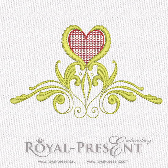 Machine Embroidery Design - Red & Gold Hearts #6 RPE-579-05