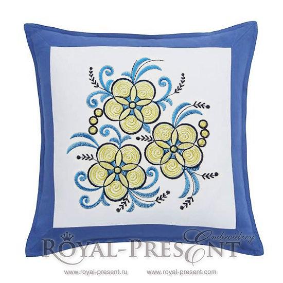 Machine Embroidery Design Yellow Garden flowers RPE-790