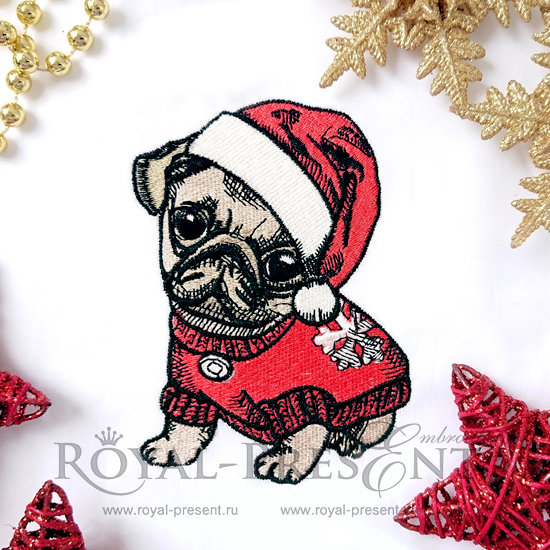 Machine Embroidery Design Christmas Puppy Pug - 4 sizes RPE-793-02