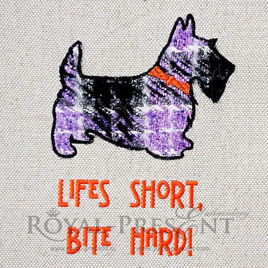 Applique Machine Embroidery Design Scottie Dog