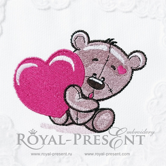 Machine Embroidery Design Cute Teddy Bear with heart - 2 sizes RPE-235