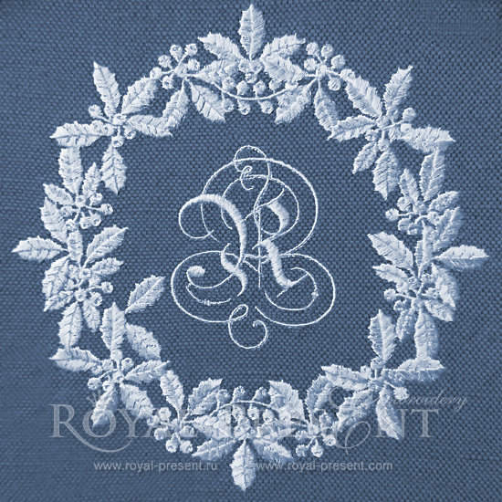 Machine Embroidery Design White Christmas Wreath RPE-132-2