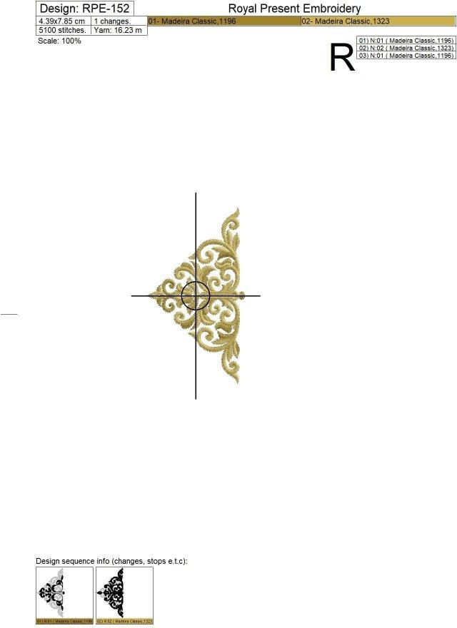 Machine Embroidery Design Baroque buttonhole
