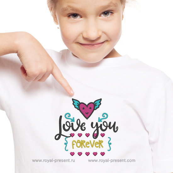 Machine Embroidery Design Love You Forever - 3 sizes RPE-1238