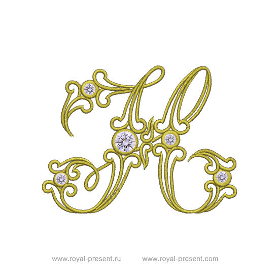 Machine Embroidery Design Vintage letter H RPE-579-05