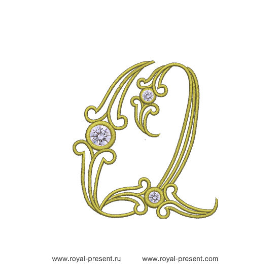 Machine Embroidery Design Vintage letter Q RPE-579-04