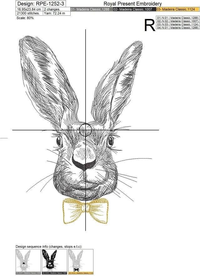 Machine Embroidery Design Spring Rabbit with bow-tie