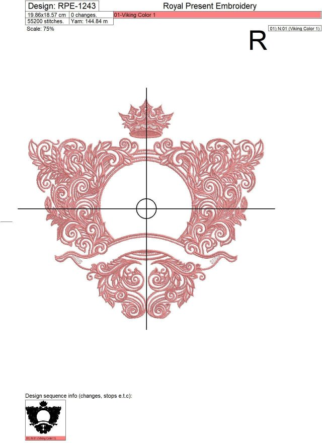 Ornate baroque monogram frame Embroidery Design - 4 sizes