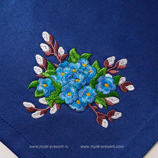 Forget-me-nots Bouquet Machine Embroidery Design RPE-1272