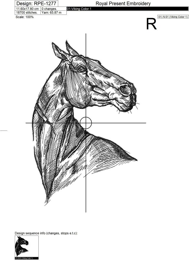 Horse embroidery design - 6 sizes