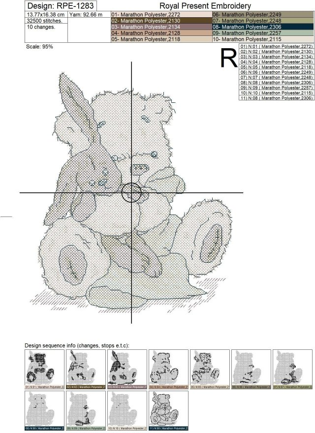 Teddy-Bear Cross-Stitch Machine Embroidery Design - 2 sizes