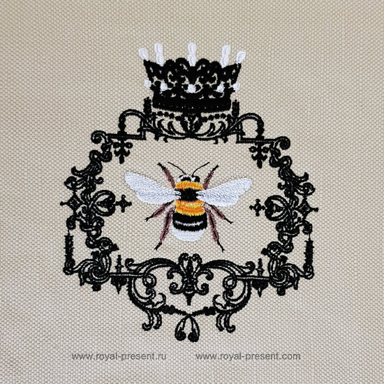 Queen Bee machine embroidery design - 3 sizes