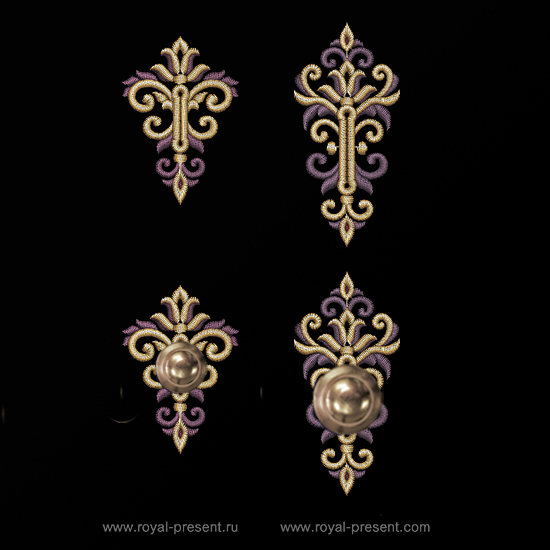 Two Baroque buttonholes Machine Embroidery Designs RPE-1302
