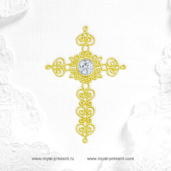 Machine embroidery design Christian Cross with Crystal RPE-1306