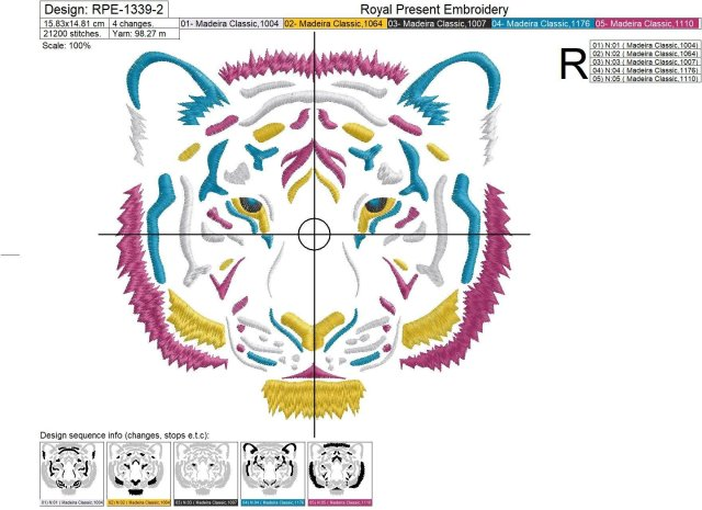 Tiger head machine embroidery design - 3 sizes