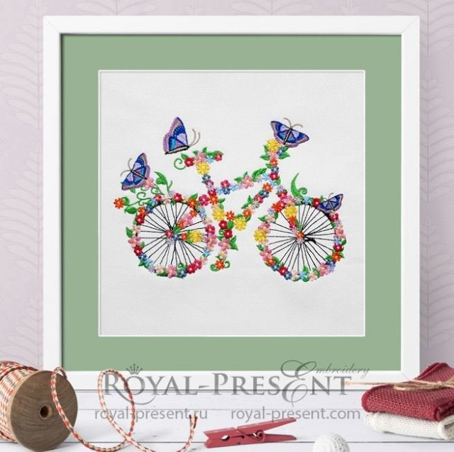 Flower bicycle Machine Embroidery Design - 5 sizes RPE-1376