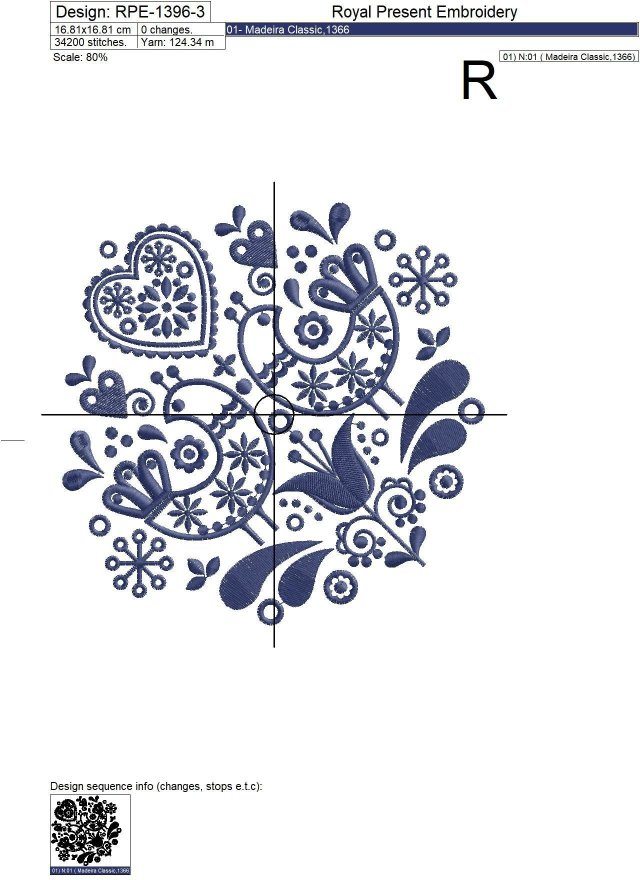 Scandinavian folk Machine Embroidery Design - 3 sizes