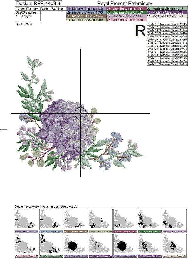 Hydrangea corner Machine Embroidery Design - 3 sizes